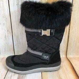 Coach Mariette Black Winter Boots Fur Trim 9 EUC!